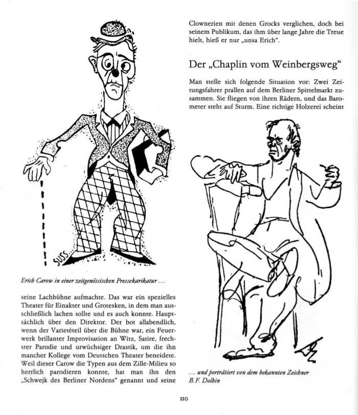 Erich Carow in einer zeitgenössichen Pressekarikatur... und portraitiert von dem bekannten Zeichner B.F.Dolbin
