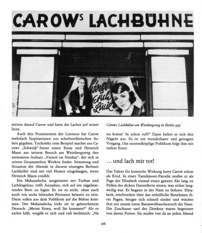 Bild: Carows Lachbühne am Weinbegrsweg in Berlin 1939