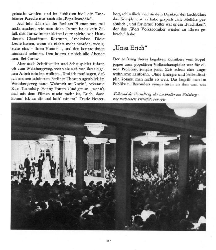 Pressefoto 1930: der Lachkeller während der Vorstellung am Weinbergsweg