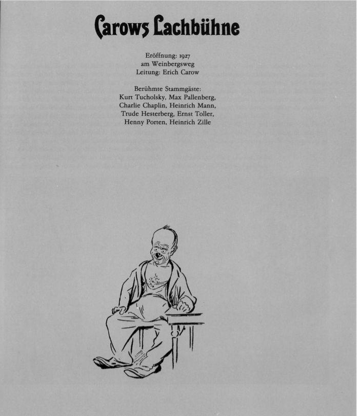 """Kapitelblatt:Carows Lachbühne aus dem Buch von Helga Bemmann """"Berliner Musenkinder-Memoiren. Eine heitere Chronik von 1900–1930"""""""