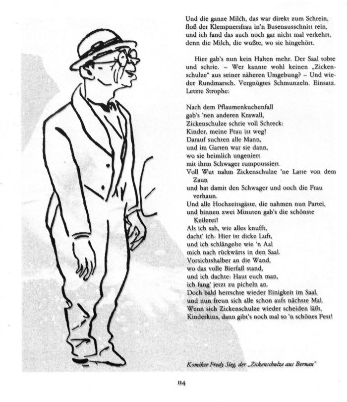 "Karikatur des Komikers Fredy Sieg, der ""Zickenschulze aus Bernau"""