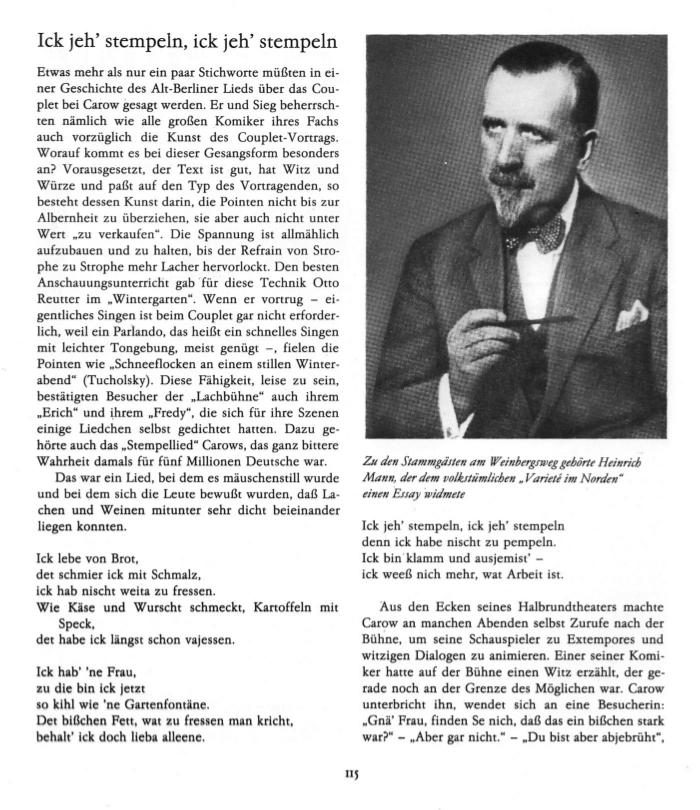 Heinrich Mann der zu den Stammgästen am Winbergsweg gehörte.