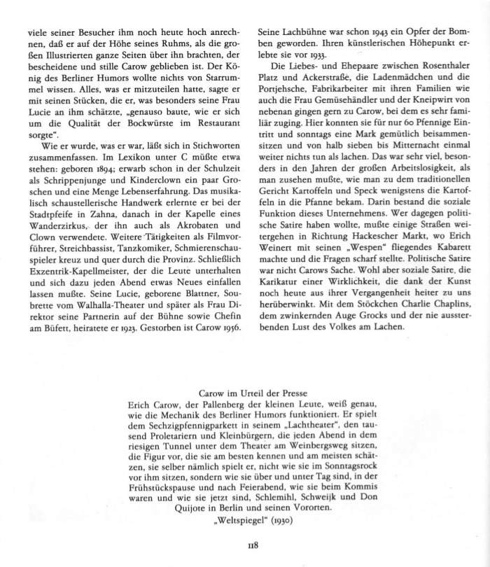 Kurzbiographie Erich Carows